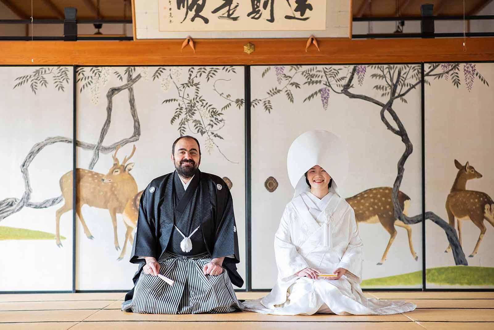 French and Japanese couple wearing bridal Kimono